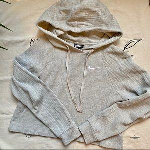 Nike Grey Ribbed Cropped Hooded Sweatshirt